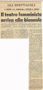 biennale venezia teatro la Maddalena herstory  femminismo luoghi donne storia gruppi Roma