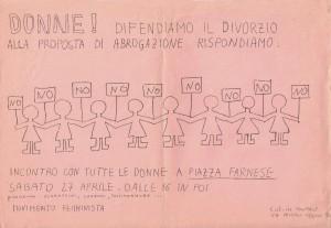 volantino divorzio movimento femminismo romano  herstory  luoghi donne gruppi lesbiche Roma archivia