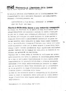 volantino manifestazione Movimento Liberazione della Donna archivia herstory  femminismo Roma