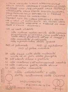 volantino manifestazione pompeo magno femminismo herstory  luoghi donne gruppi lesbiche Roma archivia