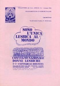 bollettino collegamento lesbiche italiane casa donna governo vecchio herstory  storia femminismo gruppi Roma