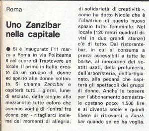 Zanzibar lesbiche bar inaugurazione articolo lesbica herstory  femminismo luoghi donne storia gruppi Roma