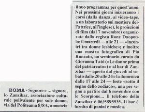 zanzibar lesbiche bar separatismo lesbica herstory  femminismo luoghi donne storia gruppi Roma  articolo noidonne