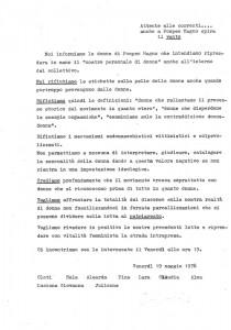 volantino movimento romano pompeo magno femminismo herstory  luoghi donne gruppi lesbiche Roma archivia
