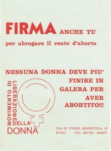 volantino aborto Movimento Liberazione della Donna archivia herstory  femminismo Roma