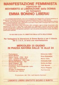 manifestazione emma bonino Movimento Liberazione della Donna archivia herstory  femminismo Roma