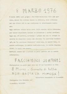 Collettivo femminista comunista Civitavecchia volantino herstory  luoghi donne storia gruppi Roma
