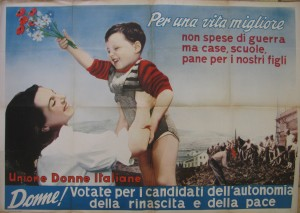 manifesto campagna elettorale Udi Unione donne italiane herstory  femminismo storia gruppi Roma archivia