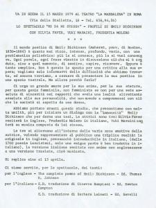 spettacolo emily dickinson teatro la Maddalena herstory  femminismo luoghi donne storia gruppi Roma