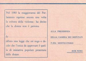 cartolina legge sessuale violenza  herstory  femminismo luoghi donne storia gruppi Roma