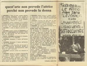 Collettivo attrici quotidiano donna herstory  femminismo luoghi donne storia gruppi Roma