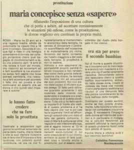articolo quotidiano donna collettivo femminista montespaccato herstory  luoghi storia gruppi Roma