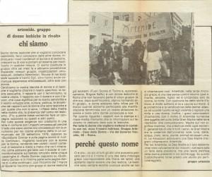 articolo Collettivo artemide donne lesbiche in rivolta governo vecchio herstory  storia gruppi Roma
