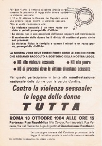 volantino legge sessuale violenza  herstory  femminismo luoghi donne storia gruppi Roma