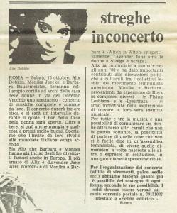 concerto  Collettivo artemide donne lesbiche in rivolta governo vecchio herstory  storia gruppi Roma