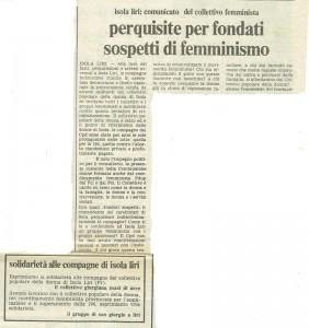 Collettivo femminista Isola Liri quotidiano donna herstory  femminismo luoghi donne storia gruppi Roma