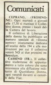 Collettivo Donne Ceprano comunicati quotidiano donna herstory  femminismo luoghi donne storia gruppi Roma