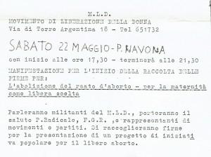 raccolta firme aborto Movimento Liberazione della Donna archivia herstory  femminismo Roma