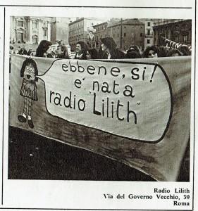 striscione radio lilith  governo vecchio herstory  storia gruppi Roma
