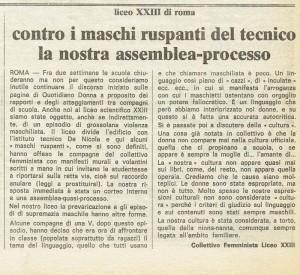 Collettivo femminista Liceo XXIII articolo herstory  femminismo luoghi donne storia gruppi Roma