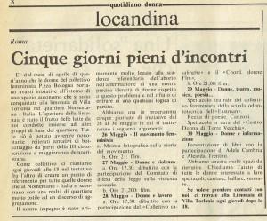quotidiano donna iniziative collettivo femminista piazza bologna herstory  luoghi storia gruppi Roma