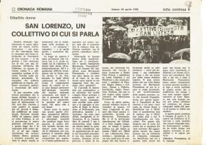articolo lotta continua San Lorenzo Collettivo herstory  femminismo luoghi donne storia gruppi Roma