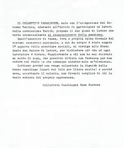 documento Collettivo casalinghe casa donna governo vecchio herstory  storia femminismo Roma