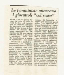 sessismo giocattoli effe herstory  femminismo luoghi donne storia gruppi Roma