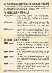 referendum Movimento Liberazione della Donna archivia herstory  femminismo Roma