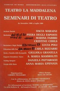 seminari teatrali Maddalena herstory  femminismo luoghi donne storia gruppi Roma