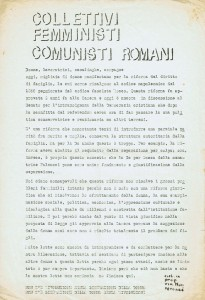 volantino Collettivo femminista comunista Pomponazzi herstory  donne storia collettivi manifestazioni gruppi mappa