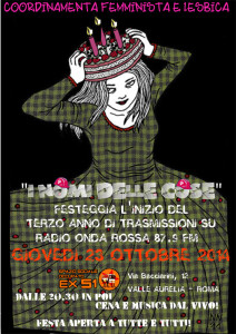 volantino radio herstory  femminismo lesbiche  luoghi donne collettivi gruppi Roma