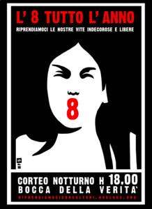 volantino manifestazione herstory  femminismo lesbiche  luoghi donne collettivi gruppi Roma