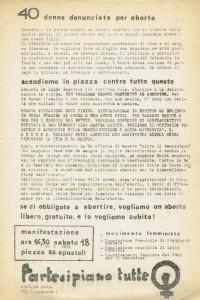 COMMISSIONI FEMMINILI LOTTA CONTINUA AVANGUARDIA OPERAIA PARTITO DI UNITÀ PROLETARIA herstory  femminismo luoghi donne storia gruppi Roma