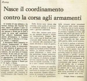 Coordinamento armamenti quotidiano donna articolo herstory  femminismo luoghi storia gruppi Roma