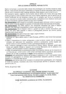 Circolo Udi La goccia appello donne Bosnia herstory  femminismo luoghi donne storia collettivi manifestazioni gruppi Roma