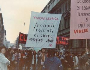 Collegamento lesbiche italiane striscione herstory  femminismo luoghi donne storia gruppi Roma