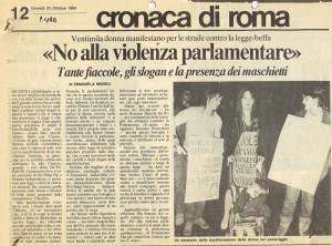 manifestazione legge violenza sessuale  paese sera CFS  centro separatista herstory  femministe lesbiche  luoghi collettivi gruppi Roma