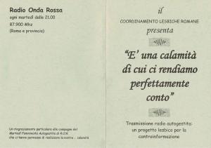 trasmissione radio calamità coordinamento lesbiche romane CFS herstory  luoghi collettivi gruppi donne Roma