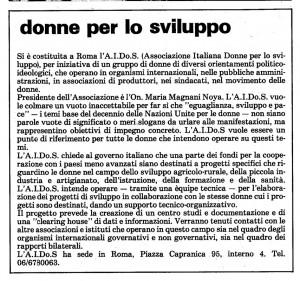 Aidos Associazione italiana donne sviluppo effe articolo herstory  femminismo luoghi donne storia gruppi Roma