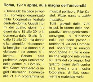 Cooperativa teatrale herstory  femministe  luoghi donna storia collettivi manifestazioni gruppi Roma