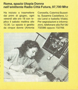 Spazio Utopia donna radio noidonne herstory  femminismo luoghi donne storia gruppi Roma