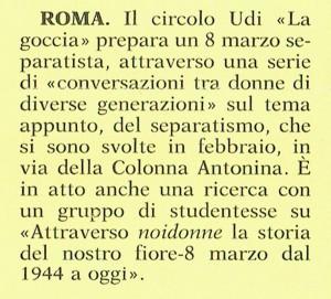 Circolo Udi La goccia incontri supplemento noidonne herstory  femminismo luoghi donne storia collettivi manifestazioni gruppi Roma