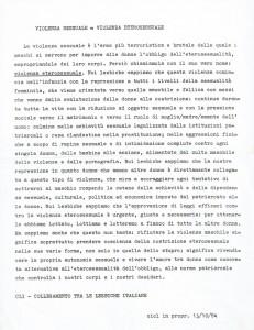 lesbiche volantino manifestazione herstory  femminismo luoghi donne storia gruppi Roma