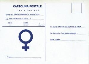CFS  cartolina sindaco herstory  femministe lesbiche  luoghi collettivi gruppi Roma
