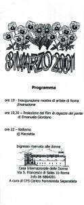 8 marzo 2001 programma coordinamento lesbiche romane CFS herstory  luoghi collettivi gruppi donne Roma