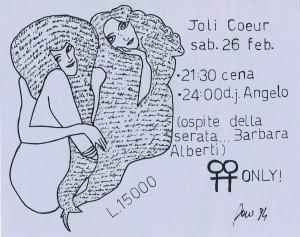 Jolie Coeur discoteca volantino herstory  femminismo luoghi donne storia gruppi Roma