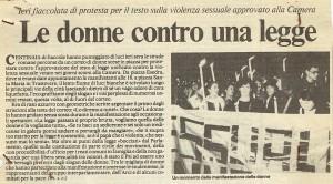 articolo legge violenza sessuale  CFS  centro separatista herstory  femministe lesbiche  luoghi collettivi gruppi Roma