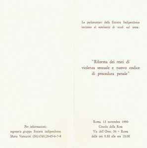 Circolo della Rosa herstory  programma seminario 1990  femminismo luoghi donne storia gruppi Roma