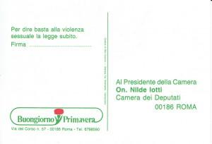 Buongiorno primavera cartolina iotti herstory  femministe  luoghi donne storia collettivi manifestazioni gruppi Roma